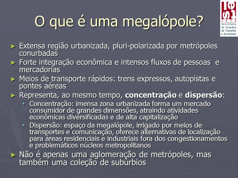 O que é uma megalópole? ► Extensa região urbanizada, pluri-polarizada por metrópoles conurbadas ► Forte integração econômica e intensos fluxos de pess