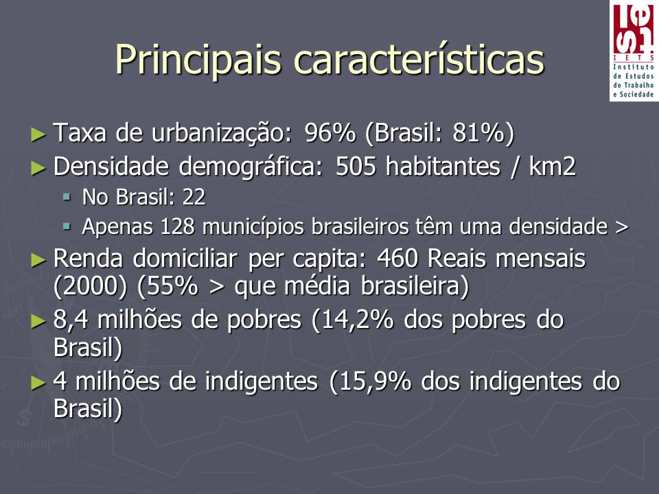 Principais características ► Taxa de urbanização: 96% (Brasil: 81%) ► Densidade demográfica: 505 habitantes / km2  No Brasil: 22  Apenas 128 municípios brasileiros têm uma densidade > ► Renda domiciliar per capita: 460 Reais mensais (2000) (55% > que média brasileira) ► 8,4 milhões de pobres (14,2% dos pobres do Brasil) ► 4 milhões de indigentes (15,9% dos indigentes do Brasil)