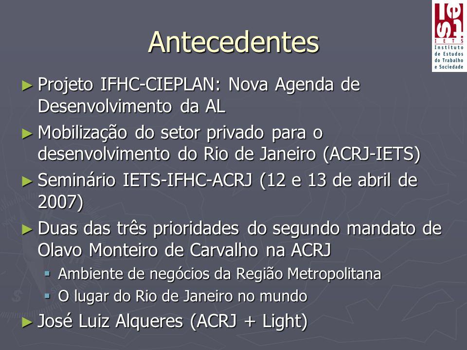 Antecedentes ► Projeto IFHC-CIEPLAN: Nova Agenda de Desenvolvimento da AL ► Mobilização do setor privado para o desenvolvimento do Rio de Janeiro (ACRJ-IETS) ► Seminário IETS-IFHC-ACRJ (12 e 13 de abril de 2007) ► Duas das três prioridades do segundo mandato de Olavo Monteiro de Carvalho na ACRJ  Ambiente de negócios da Região Metropolitana  O lugar do Rio de Janeiro no mundo ► José Luiz Alqueres (ACRJ + Light)