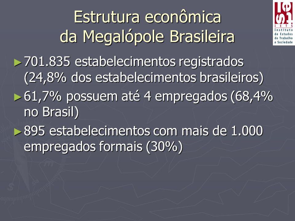 Estrutura econômica da Megalópole Brasileira ► 701.835 estabelecimentos registrados (24,8% dos estabelecimentos brasileiros) ► 61,7% possuem até 4 empregados (68,4% no Brasil) ► 895 estabelecimentos com mais de 1.000 empregados formais (30%)