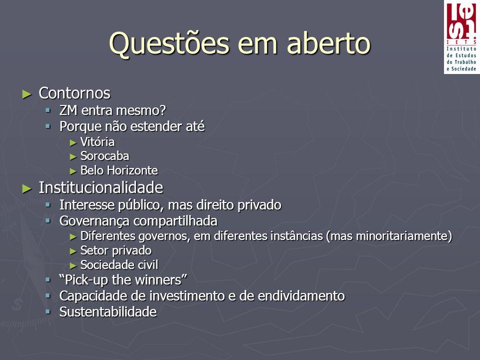 Questões em aberto ► Contornos  ZM entra mesmo?  Porque não estender até ► Vitória ► Sorocaba ► Belo Horizonte ► Institucionalidade  Interesse públ