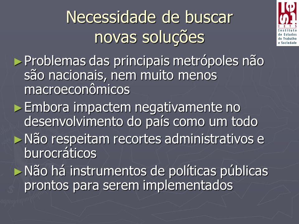 Necessidade de buscar novas soluções ► Problemas das principais metrópoles não são nacionais, nem muito menos macroeconômicos ► Embora impactem negati