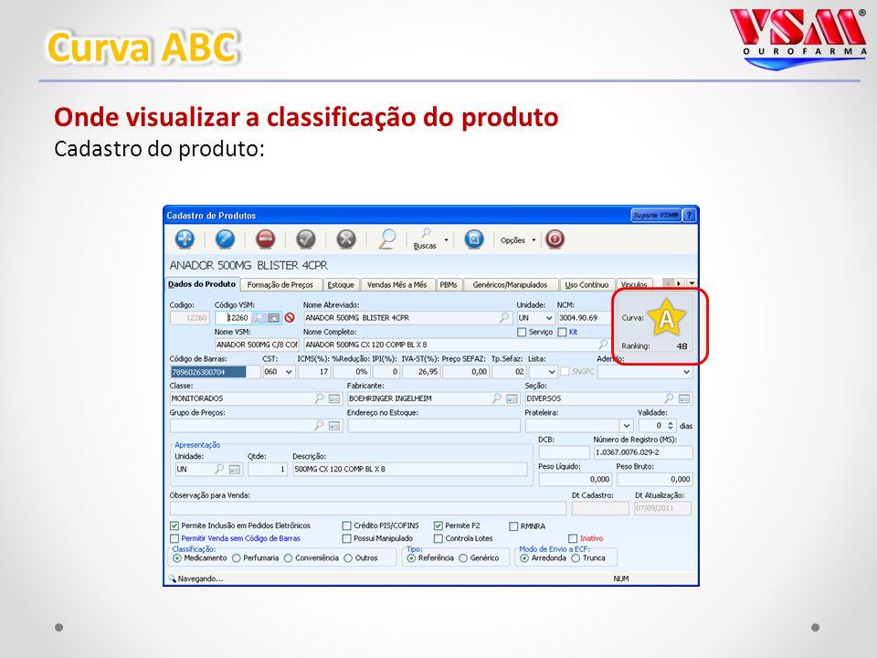 Onde visualizar a classificação do produto Cadastro do produto:
