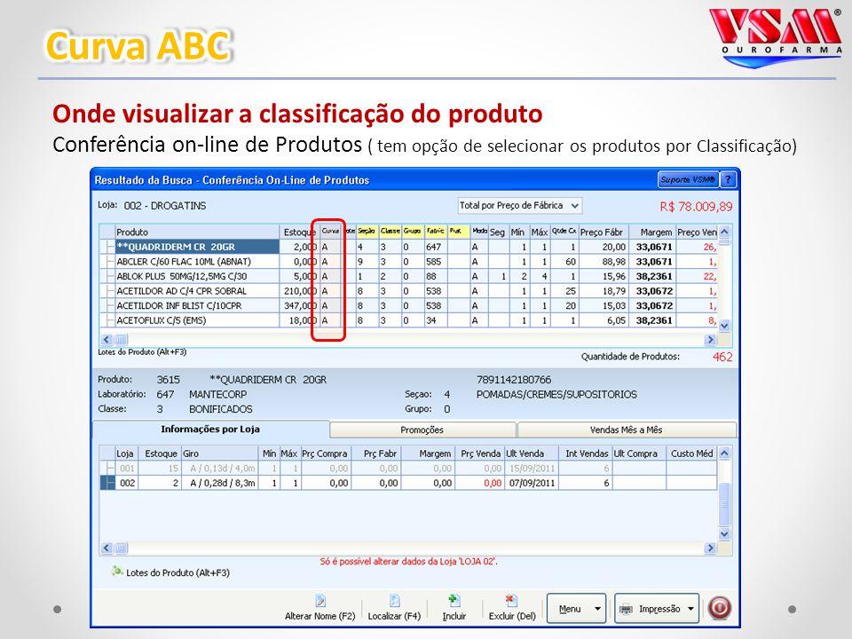 Onde visualizar a classificação do produto Conferência on-line de Produtos ( tem opção de selecionar os produtos por Classificação)