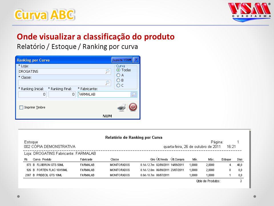 Onde visualizar a classificação do produto Relatório / Estoque / Ranking por curva