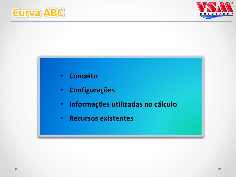 Conceito Configurações Informações utilizadas no cálculo Recursos existentes Conceito Configurações Informações utilizadas no cálculo Recursos existentes