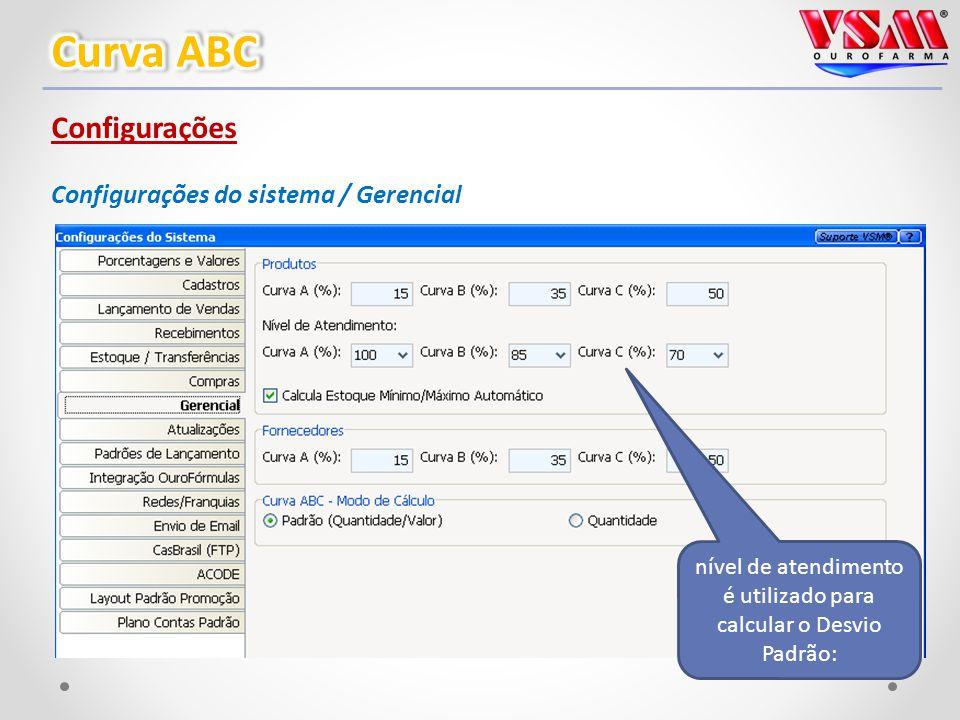 Configurações Configurações do sistema / Gerencial nível de atendimento é utilizado para calcular o Desvio Padrão:
