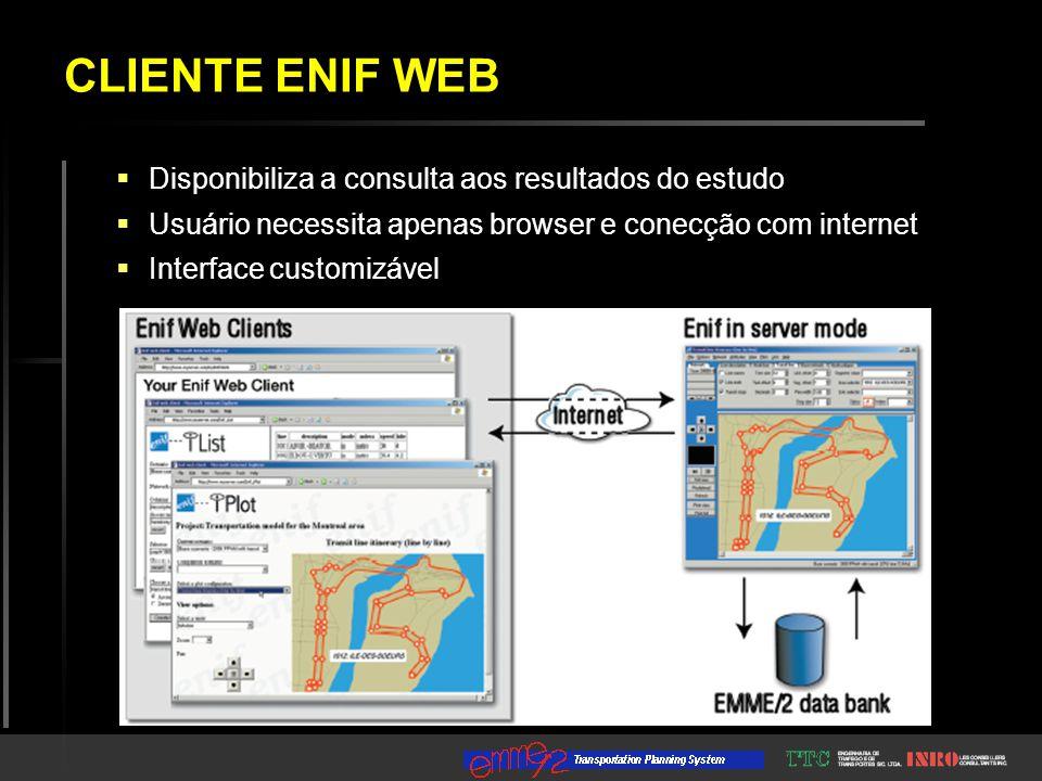  Disponibiliza a consulta aos resultados do estudo  Usuário necessita apenas browser e conecção com internet  Interface customizável CLIENTE ENIF WEB