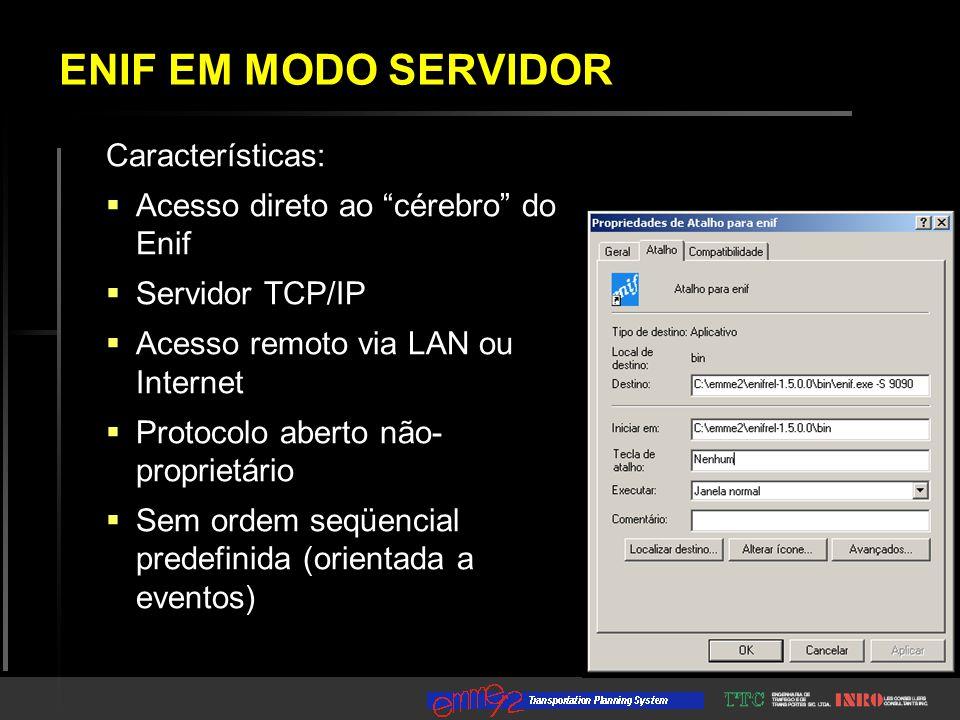 Características:  Acesso direto ao cérebro do Enif  Servidor TCP/IP  Acesso remoto via LAN ou Internet  Protocolo aberto não- proprietário  Sem ordem seqüencial predefinida (orientada a eventos) ENIF EM MODO SERVIDOR