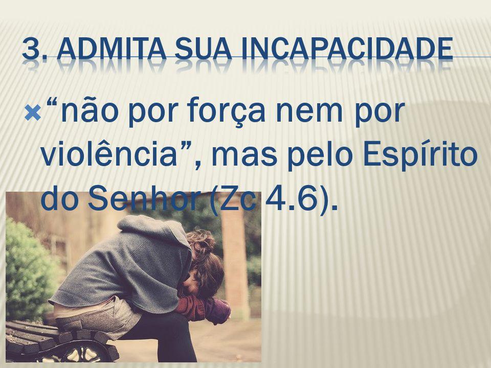 """ """"não por força nem por violência"""", mas pelo Espírito do Senhor (Zc 4.6)."""