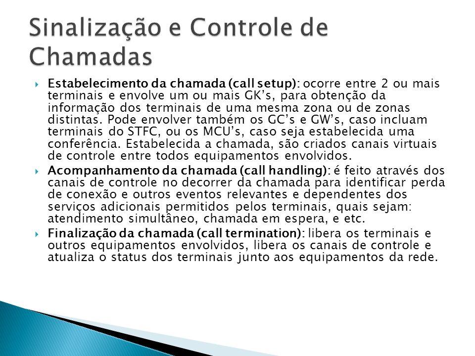  Estabelecimento da chamada (call setup): ocorre entre 2 ou mais terminais e envolve um ou mais GK's, para obtenção da informação dos terminais de um