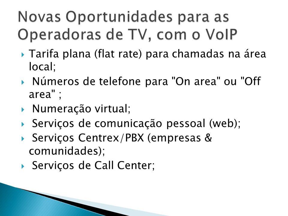  Tarifa plana (flat rate) para chamadas na área local;  Números de telefone para On area ou Off area ;  Numeração virtual;  Serviços de comunicação pessoal (web);  Serviços Centrex/PBX (empresas & comunidades);  Serviços de Call Center;