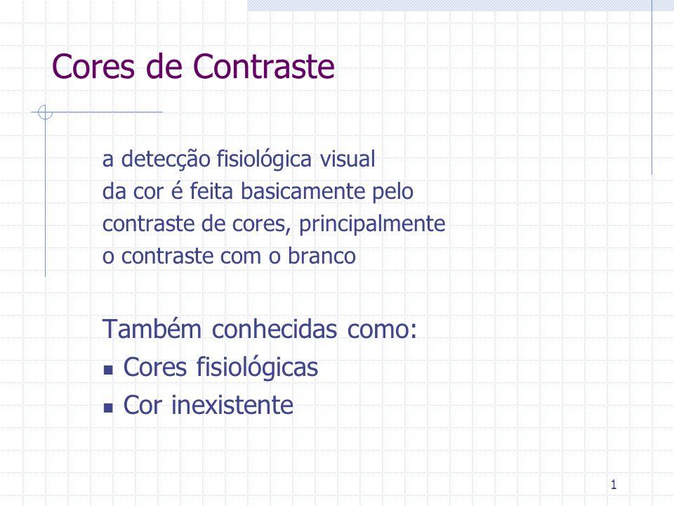 1 Cores de Contraste a detecção fisiológica visual da cor é feita basicamente pelo contraste de cores, principalmente o contraste com o branco Também