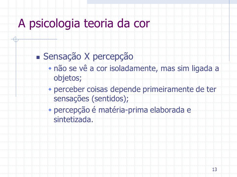 13 A psicologia teoria da cor Sensação X percepção  não se vê a cor isoladamente, mas sim ligada a objetos;  perceber coisas depende primeiramente d