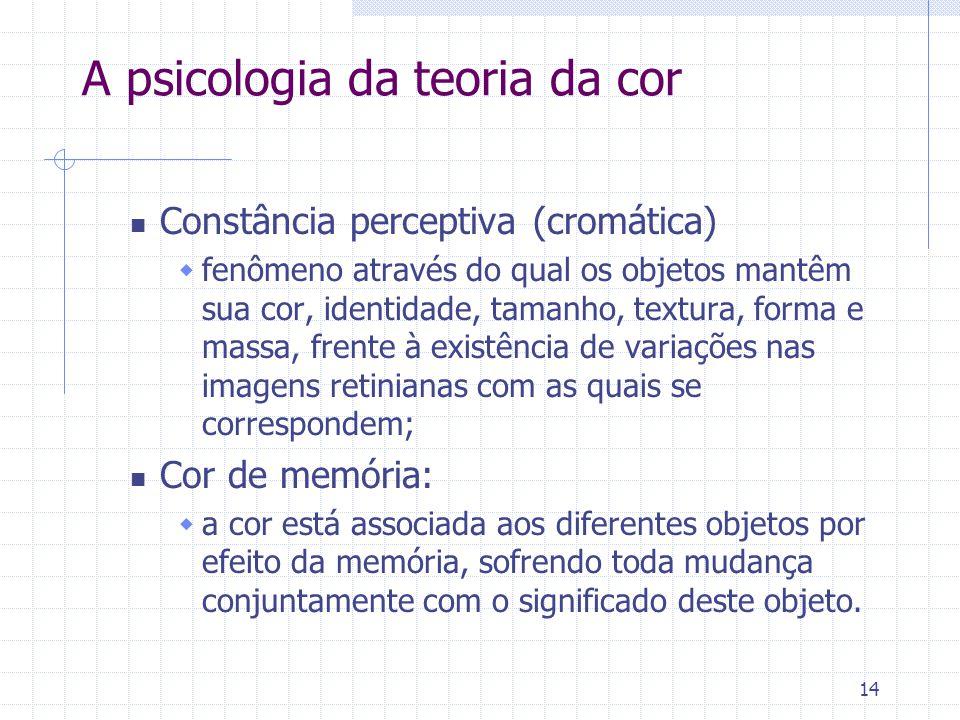 14 A psicologia da teoria da cor Constância perceptiva (cromática)  fenômeno através do qual os objetos mantêm sua cor, identidade, tamanho, textura,