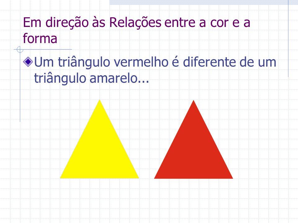 Em direção às Relações entre a cor e a forma Um triângulo vermelho é diferente de um triângulo amarelo...
