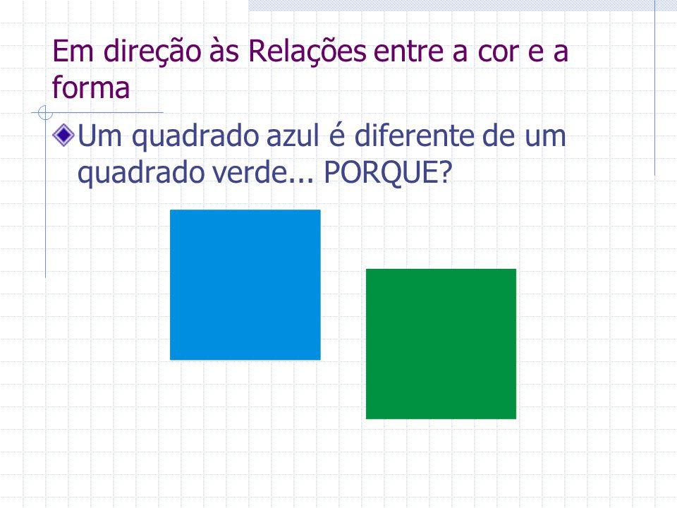 Em direção às Relações entre a cor e a forma Um quadrado azul é diferente de um quadrado verde... PORQUE?