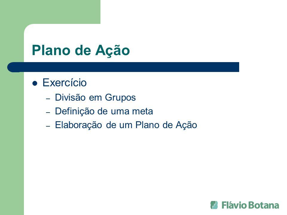 Plano de Ação Exercício – Divisão em Grupos – Definição de uma meta – Elaboração de um Plano de Ação
