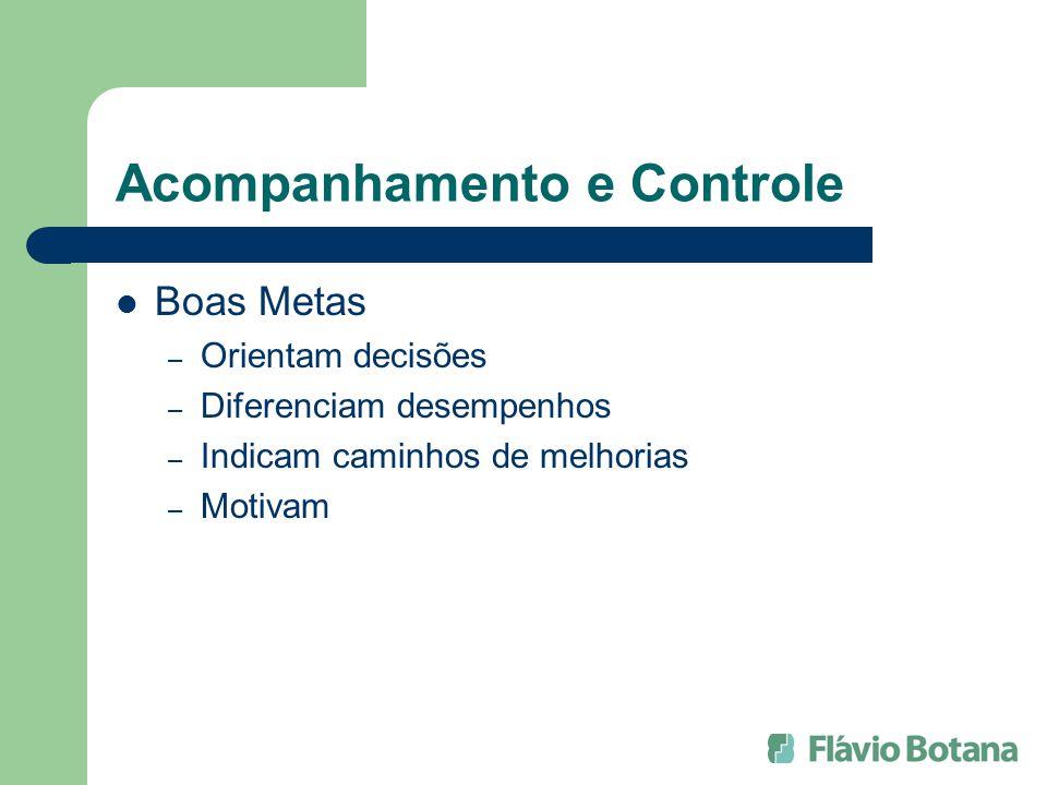Acompanhamento e Controle Boas Metas – Orientam decisões – Diferenciam desempenhos – Indicam caminhos de melhorias – Motivam