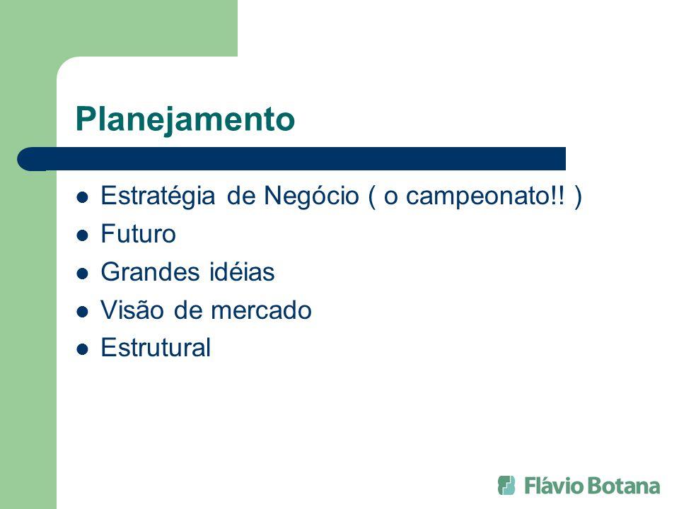 Planejamento Estratégia de Negócio ( o campeonato!! ) Futuro Grandes idéias Visão de mercado Estrutural