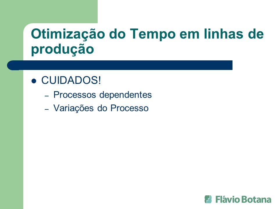 Otimização do Tempo em linhas de produção CUIDADOS! – Processos dependentes – Variações do Processo