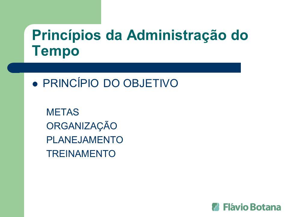 Princípios da Administração do Tempo PRINCÍPIO DO OBJETIVO METAS ORGANIZAÇÃO PLANEJAMENTO TREINAMENTO