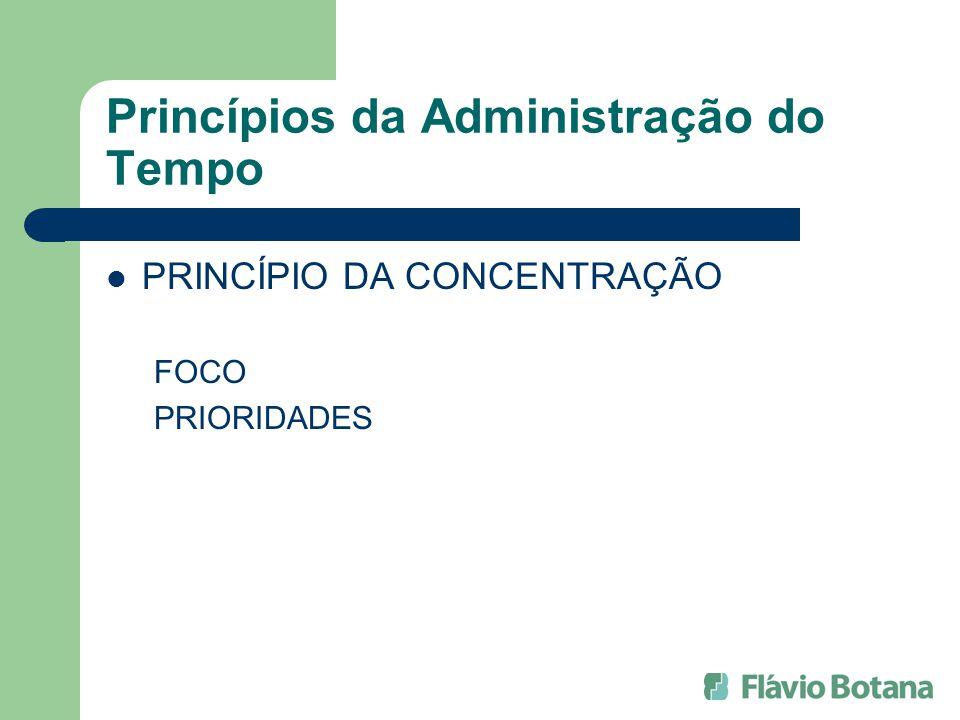 Princípios da Administração do Tempo PRINCÍPIO DA CONCENTRAÇÃO FOCO PRIORIDADES