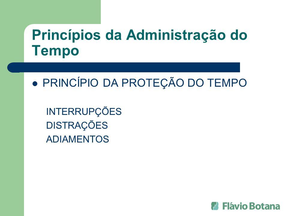 Princípios da Administração do Tempo PRINCÍPIO DA PROTEÇÃO DO TEMPO INTERRUPÇÕES DISTRAÇÕES ADIAMENTOS