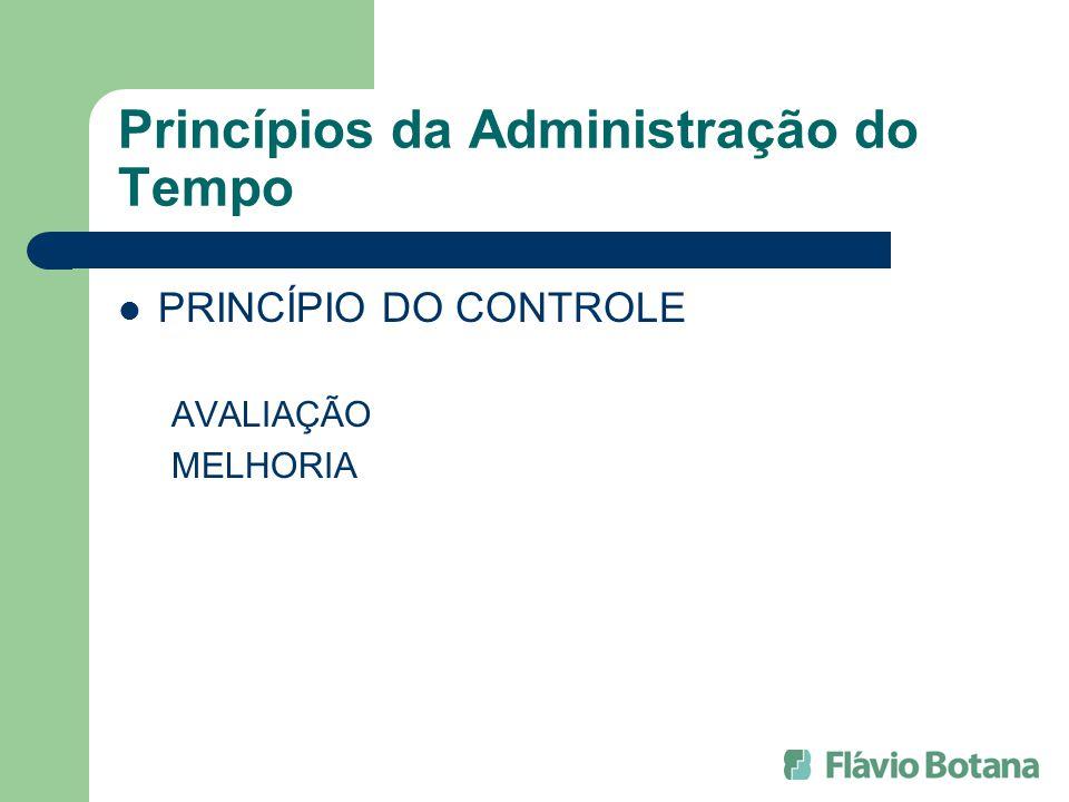 Princípios da Administração do Tempo PRINCÍPIO DO CONTROLE AVALIAÇÃO MELHORIA