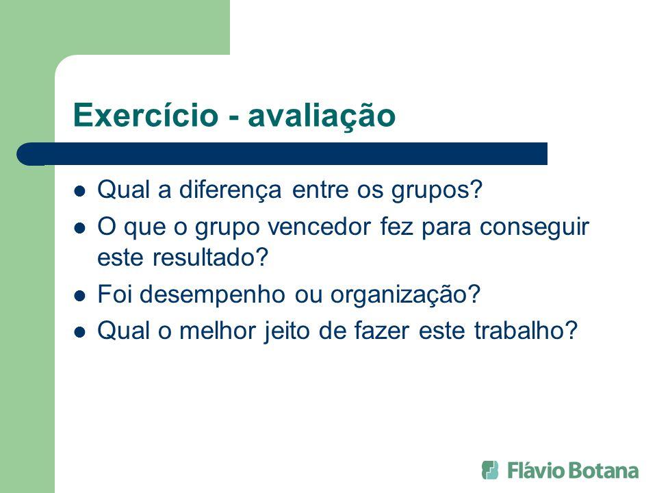 Exercício - avaliação Qual a diferença entre os grupos? O que o grupo vencedor fez para conseguir este resultado? Foi desempenho ou organização? Qual