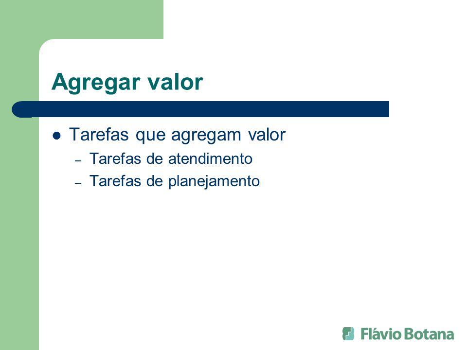 Agregar valor Tarefas que agregam valor – Tarefas de atendimento – Tarefas de planejamento