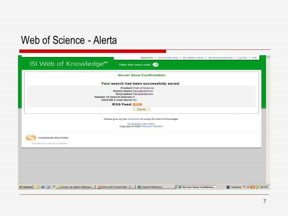 7 Web of Science - Alerta