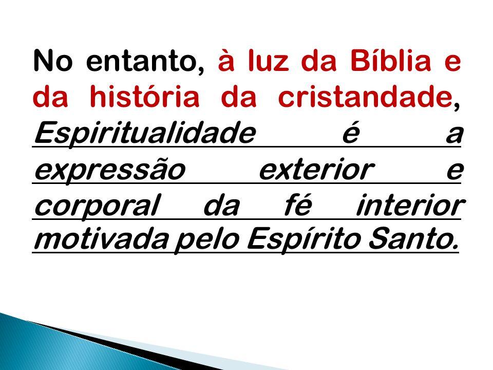 No entanto, à luz da Bíblia e da história da cristandade, Espiritualidade é a expressão exterior e corporal da fé interior motivada pelo Espírito Sant