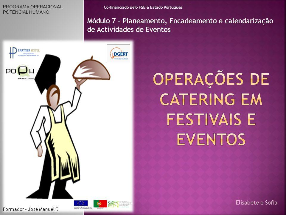 Módulo 7 – Planeamento, Encadeamento e calendarização de Actividades de Eventos PROGRAMA OPERACIONAL POTENCIAL HUMANO Co-financiado pelo FSE e Estado