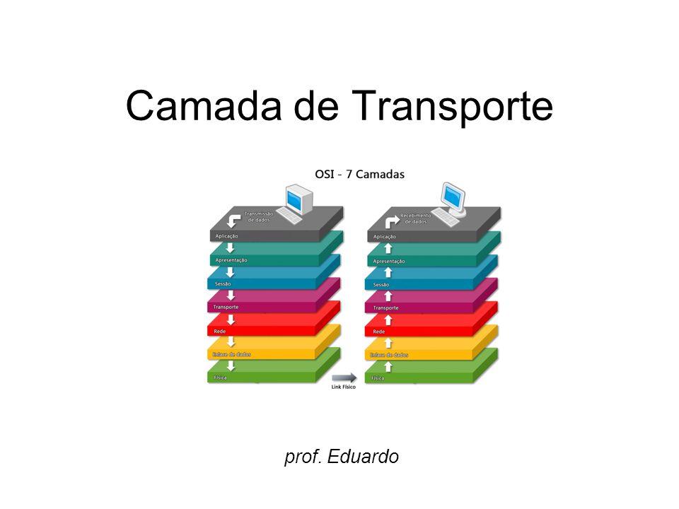 Camada de transporte A camada de transporte possibilita a comunicação entre os programas de aplicação, de uma forma fim- a-fim, ou seja, o transporte garante que os dados transmitidos/recebidos estarão corretos.