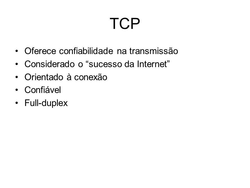 """TCP Oferece confiabilidade na transmissão Considerado o """"sucesso da Internet"""" Orientado à conexão Confiável Full-duplex"""