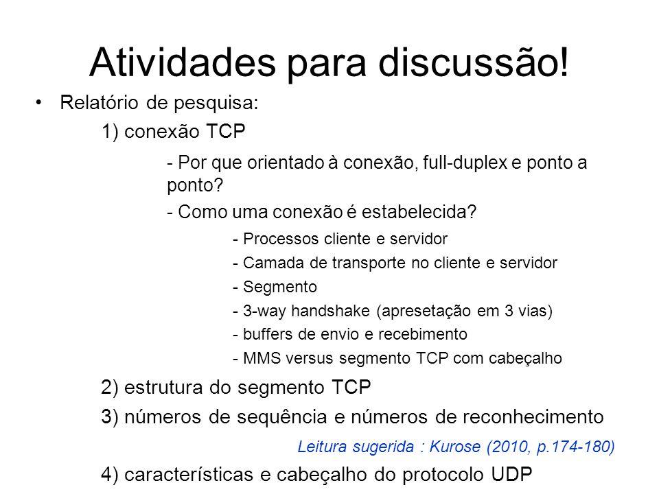 Atividades para discussão! Relatório de pesquisa: 1) conexão TCP - Por que orientado à conexão, full-duplex e ponto a ponto? - Como uma conexão é esta