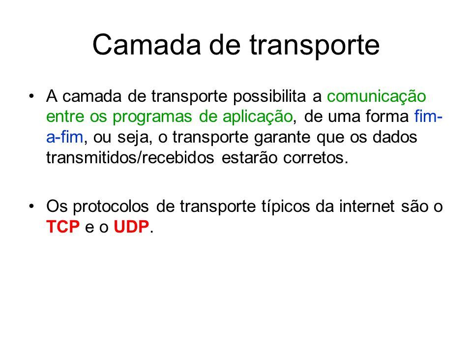 Camada de transporte A camada de transporte possibilita a comunicação entre os programas de aplicação, de uma forma fim- a-fim, ou seja, o transporte