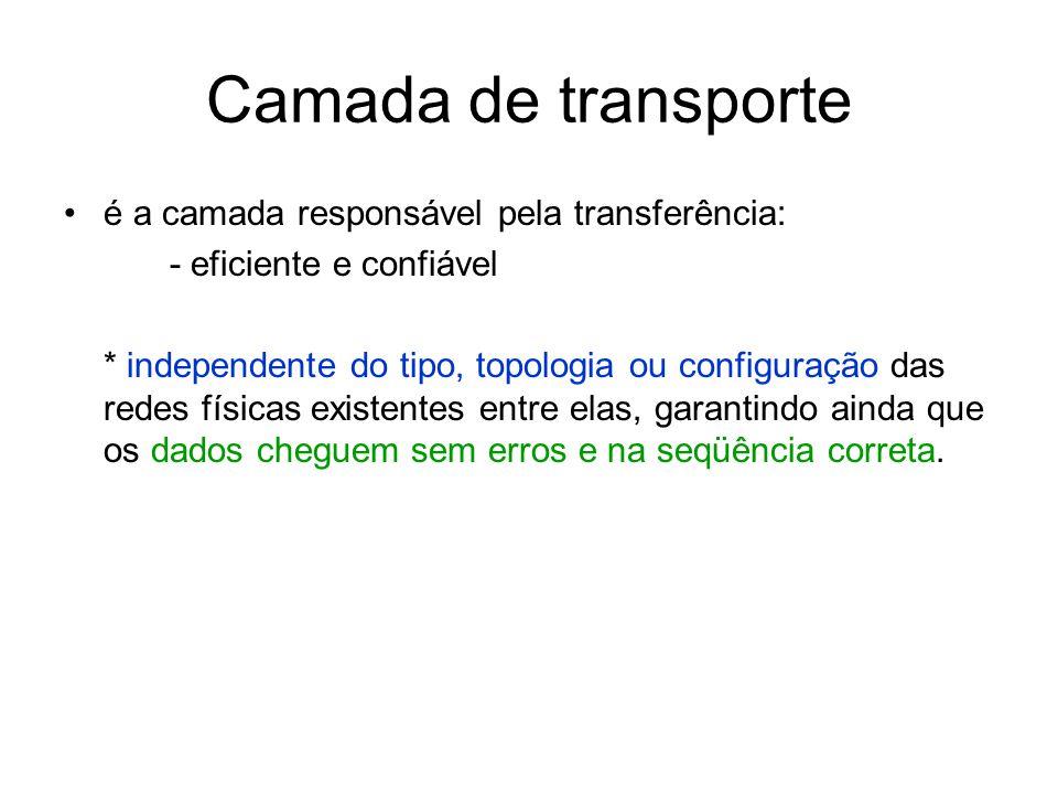 Camada de transporte é a camada responsável pela transferência: - eficiente e confiável * independente do tipo, topologia ou configuração das redes fí