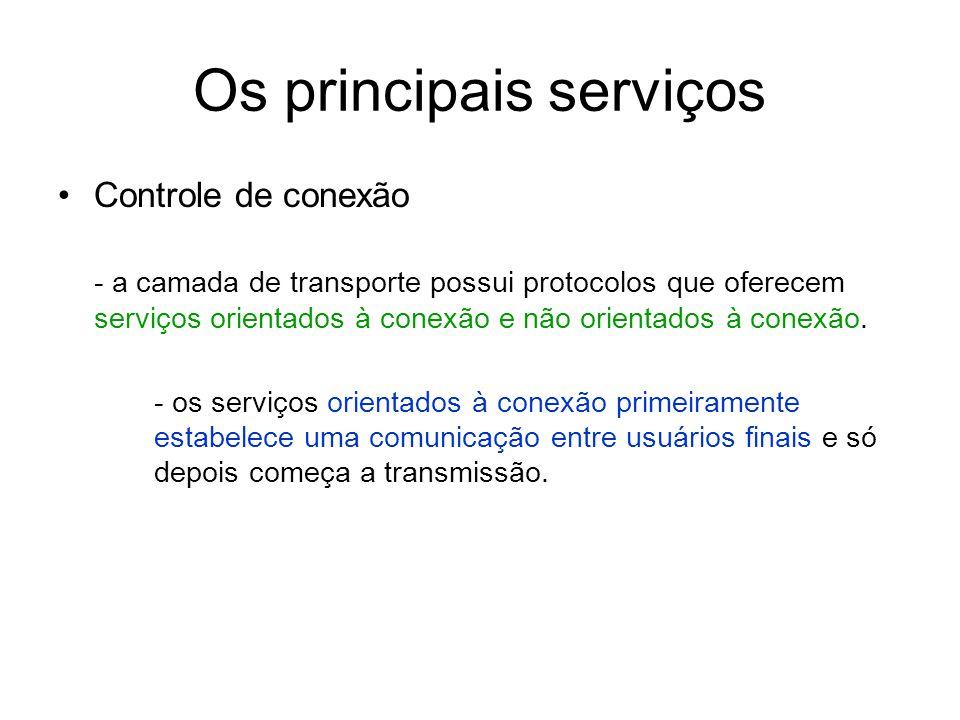 Os principais serviços Controle de conexão - a camada de transporte possui protocolos que oferecem serviços orientados à conexão e não orientados à co