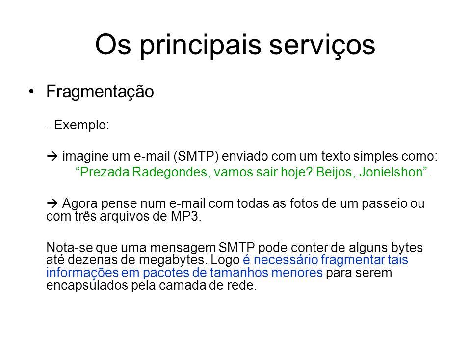 """Os principais serviços Fragmentação - Exemplo:  imagine um e-mail (SMTP) enviado com um texto simples como: """"Prezada Radegondes, vamos sair hoje? Bei"""