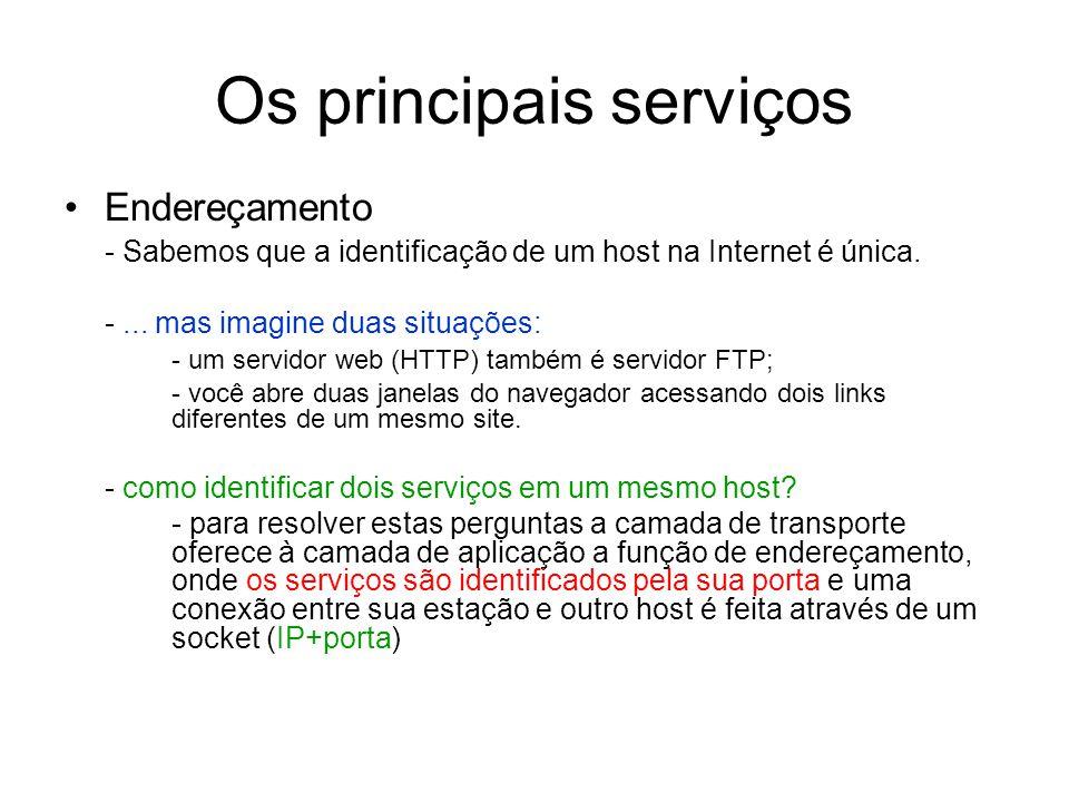 Os principais serviços Endereçamento - Sabemos que a identificação de um host na Internet é única. -... mas imagine duas situações: - um servidor web
