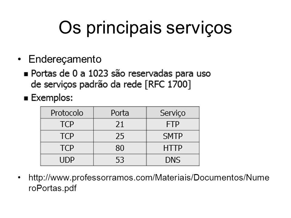 Os principais serviços Confiabilidade - controle de fluxo; Através de um sistema de buferização denominada janela deslizante (ou não), o TCP envia uma série de pacotes sem aguardar o reconhecimento de cada um deles.