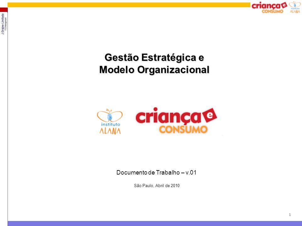 1 Gestão Estratégica e Modelo Organizacional Documento de Trabalho – v.01 São Paulo, Abril de 2010