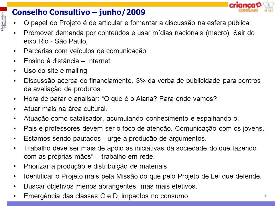19 Conselho Consultivo – junho/2009 O papel do Projeto é de articular e fomentar a discussão na esfera pública. Promover demanda por conteúdos e usar