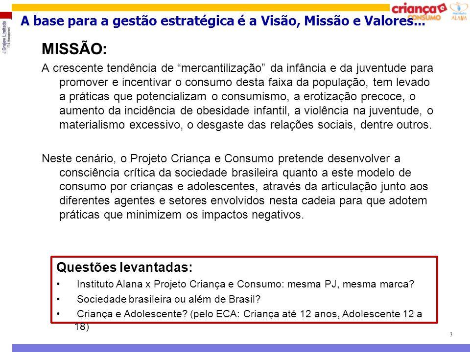 """3 MISSÃO: A crescente tendência de """"mercantilização"""" da infância e da juventude para promover e incentivar o consumo desta faixa da população, tem lev"""