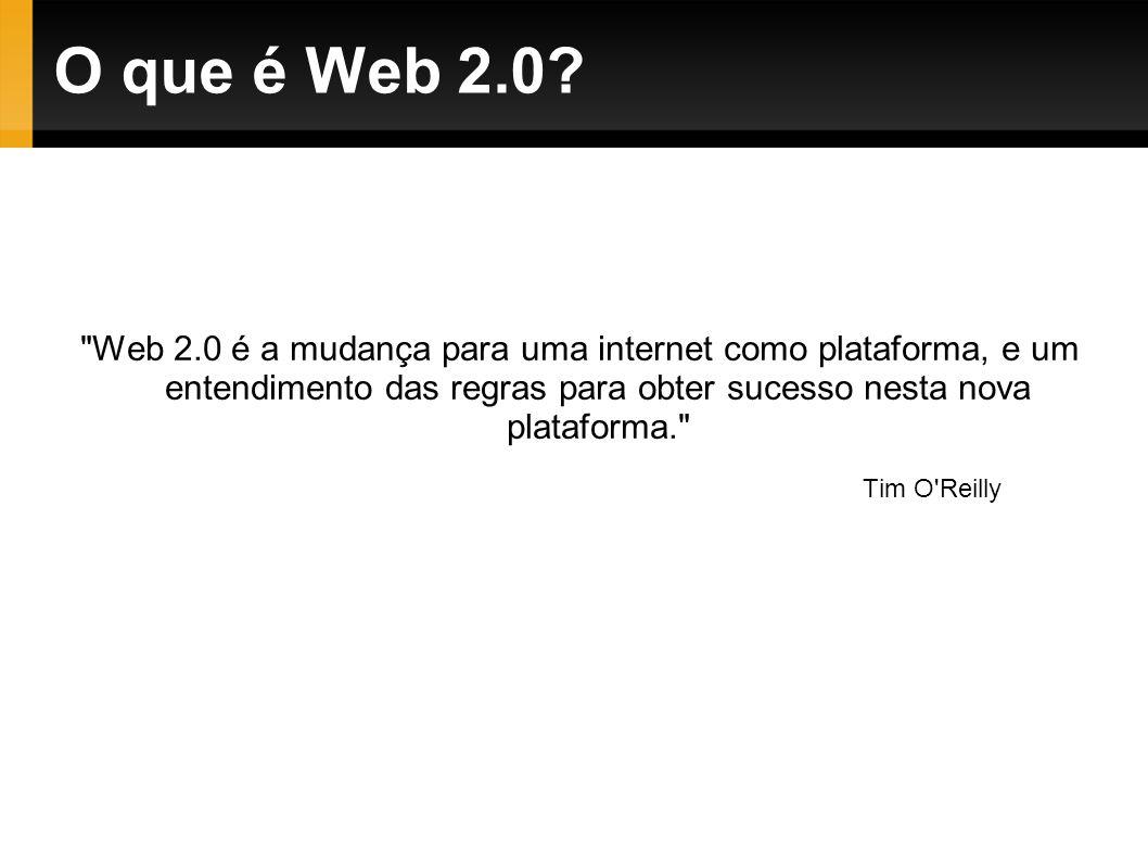 Web 2.0 é a mudança para uma internet como plataforma, e um entendimento das regras para obter sucesso nesta nova plataforma. Tim O Reilly