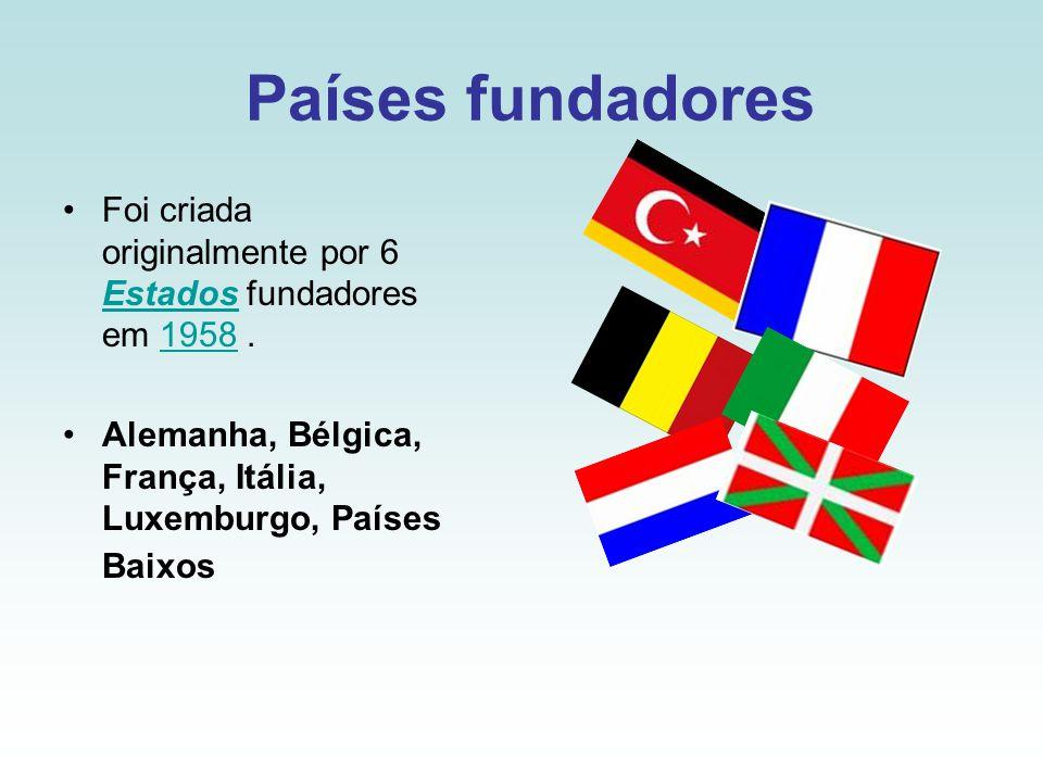 Países fundadores Foi criada originalmente por 6 Estados fundadores em 1958.