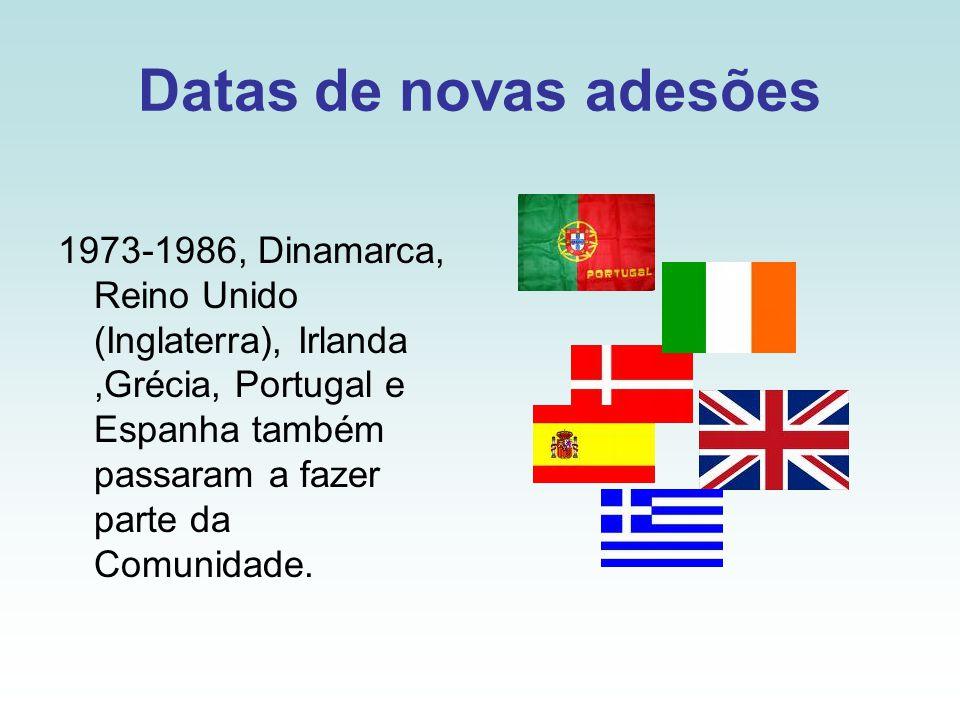 Datas de novas adesões 1973-1986, Dinamarca, Reino Unido (Inglaterra), Irlanda,Grécia, Portugal e Espanha também passaram a fazer parte da Comunidade.