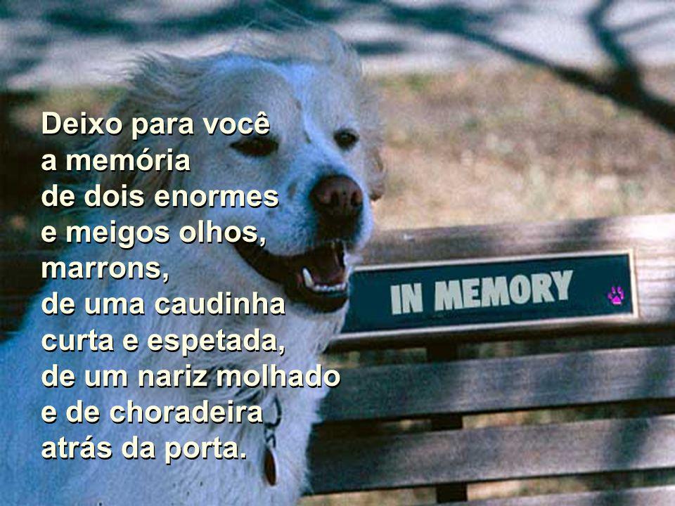 Além disso, eu deixo para você a memória, que aliás são muitas. Além disso, eu deixo para você a memória, que aliás são muitas.
